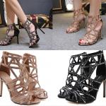 รองเท้าส้นสูงแบบสวยสีดำ/ทอง ไซต์ 35-40