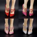 รองเท้าเจ้าสาว ไซต์ 34-39 สีแดง สีเงิน สีชมพูอ่อน สีชมพูเข้ม ส้นสูง 7 ซม.