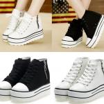 รองเท้าผ้าใบเสริมส้นสรขาว/ดำ ไซต์ 35-39