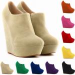 รองเท้าส้นเตารีดแบบหุ้มข้อ ไซต์ 35-42 สีดำ/ขาว/แดง/ส้ม/เขียว/น้ำเงิน/เหลือง/ชมพู/แอพพริคอท