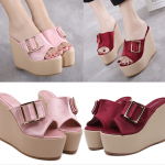 รองเท้าส้นเตารีด ไซต์ 34-39 สีแดง/ชมพู