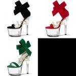 รองเท้าส้นแก้ว ไซต์ 34-44 สีดำ/แดง/เขียว