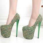 รองเท้าส้นสูงสีเขียว ไซต์ 34-43
