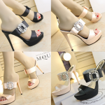 รองเท้าส้นสูงแบบสวยหรูสีดำ/ครีม ไซต์ 34-38