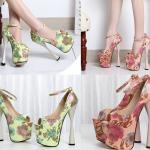 รองเท้าส้นสูงสีเชียว/ชมพู ไซต์ 34-43