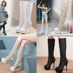 รองเท้าบูทยาวส้นสูงผ้าลูกไม้ปักเลื่อมสีขาว/ดำ/ครีม ไซต์ 34-43