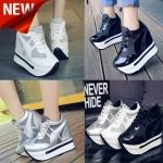 รองเท้าผ้าใบเสริมส้น ไซต์ 35-39 สีดำ/ขาว/เงิน