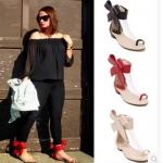 รองเท้าส้นเตี้ย ไซต์ 35-40 สีดำ สีแดง สัครีม
