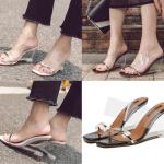 รองเท้าส้นเตารีด ไซต์ 35-39 สีเงิน/ดำ