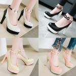 รองเท้าส้นสูงคัดชูสีหวานสายรัดข้อแต่งดอกไม้สีชมพู/ครีม/ขาว/ดำ ไซต์ 34-43