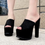 รองเท้าส้นสูงแบบสวมสีดำเสริมหน้าเยอะเดินสบาย ไซต์ 34-38