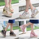 รองเท้าส้นเตารีด ไซต์ 35-39 สีดำ/เงิน/ทอง/ชมพู