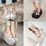 รองเท้าน่ารัก ไซต์ 34-43 สีดำ/ขาว/เทา