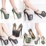 รองเท้าส้นสูงสีเขียว/ดำ ไซต์ 34-42