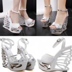 รองเท้าส้นเตารีด ไซต์ 35-39 สีขาว/เงิน