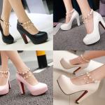 รองเท้าคัดชูแต่งสายรัดข้อสีขาว/ครีม/ชมพู/ดำ ไซต์ 34-43