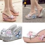 รองเท้าส้นเตารีดแต่งดอกไม้สวยๆสีชมพู/เงิน ไซต์ 34-39