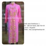 ชุดเวียดนามหญิงชั้นสูง ลายหงส์มังกร (ส่งฟรี EMS) - สีชมพู
