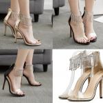 รองเท้าส้นสูงรัดข้อแต่งคริสตัลสวยๆสีทอง/ดำ ไซต์ 35-40