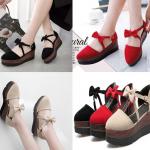 รองเท้าน่ารัก ไซต์ 34-39 สีดำ/แดง/เทา