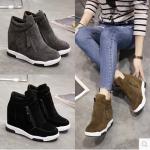 รองเท้าผ้าใบเสริมส้น ไซต์ 35-39 สีดำ/เทา/เขียวขี้ม้า