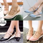 รองเท้าส้นเตารีดสีฟ้า/ชมพู/ดำ/ครีม ไซต์ 34-39