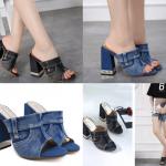 รองเท้าส้นสูงแบบสวมผ้ายีนส์สีดำ/น้ำเงิน ไซต์ 34-40
