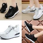 รองเท้าผ้าใบเสริมส้นสีเงิน/ดำ ไซต์ 35-40