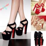 รองเท้าส้นสูง ไซต์ 34-39 สีดำ/ครีม/ชมพู