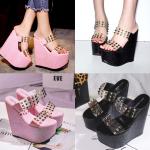 รองเท้าส้นเตารีด ไซต์ 34-39 สีดำ/ชมพู