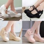 รองเท้าส้นเตารีดแบบน่ารักสีหวานสีชมพู/ครีม/ขาว/ดำ ไซต์ 34-39