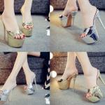 รองเท้าส้นสูงแบบสวมสีเงิน/ทอง ไซต์ 34-39