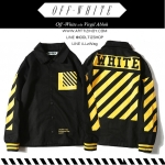 Jacket Baseball OFF-WHITE Diagonal Black-yellow --ระบุไซต์-