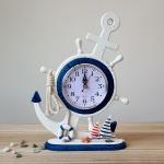 นาฬิกาตั้งโต๊ะหางเสือ Anchor ขนาด 23*33*8 ซม.งานไม้แฮนเมด<ไม่รวมแบตเตอรี่>