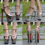 รองเท้าส้นสูง ไซต์ 34-38 สีเงิน/ทอง