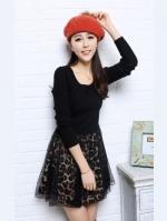 Pre Order (ลายเสือ ไซส์ S)ชุดเดรสแซกสั้นแฟชั่นเกาหลีน่ารัก คอกลม สีดำผ้ายืด แขนยาว กระโปรงบายลายเสือผ้าชีฟอง(ใหม่ พรีออเดอร์) ร้าน Ladyshop4U