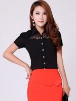 (สีดำ ไซส์ M) เสื้อทำงานแฟชั่นเกาหลีออฟฟิศ เสื้อเชิ้ตทำงาน คอปก แขนสั้น แต่งผ้าลูกไม้โปร่งช่วงคอ กระดุมหน้า (ใหม่ พร้อมส่ง) ร้าน LadyShop4U