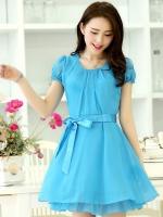 (สีฟ้า) ชุดเดรสแซกสั้นแฟชั่นเกาหลี ชุดทำงาน มินิเดรส สีฟ้า คอกลมจับจีบ แขนตุ๊กตา กระโปรงบาน ผ้าชีฟองมีซับใน ซิปข้าง พร้อมผ้าผูกเอว (ใหม่ พร้อมส่ง) ร้าน Ladyshop4u