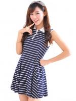 ชุดเดรสสั้น แฟชั่นเกาหลี น่ารัก สีน้ำเงิน เสื้อคอปก แขนกุด กระโปรงบาน(ใหม่ พร้อมส่ง) ร้าน Ladyshop4u
