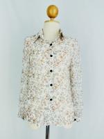เสื้อแฟชั่น สีขาวลายดอก กระดุมหน้าคอปก แขนยาว (สินค้าใหม่ พร้อมส่ง) รัาน Ladyshop4u