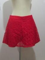 (ไซส์ L สีแดง) กระโปรงกางเกง กางเกงกระโปรง ผ้าลูกไม้ กางเกงด้านในเป็นผ้าลูกไม้สีแดง ซิปหลัง (ใหม่ พร้อมส่ง) ร้าน ladyshop4u