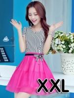 (สีชมพู ไซส์ XXL) ชุดเดรสแซกสั้นแฟชั่นเกาหลี เสื้อผ้าคอตตอนสีขาวสลับดำ คอกลม แขนสั้นแต่งขอบด้วยลูกไม้ เย็บติดกระโปรงผ้าแก้ว สีชมพูบานเย็น ซิปข้าง (ใหม่ พร้อมส่ง) ร้าน Ladyshop4u สำเนา