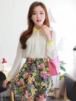 กระโปรงสั้น กระโปรงแฟชั่นเกาหลี กระโปรงบานทรงสุ่ม ลายดอกไม้ เอวยางยืด กระโปรงทำงาน กระโปรงลำลอง (ใหม่ พร้อมส่ง) ladyshop4U