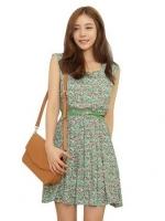 ชุดเดรสสั้นแฟชั่นเกาหลี สีเขียว ลายดอกไม้ คอกลม ไม่มีแขน เอวยางยืดแถมเข็มขัด (ใหม่ พร้อมส่ง) ร้าน Ladyshop4u