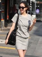 ชุดเดรสสั้น สีเทา ผ้ายืด แขนสั้น ชุดเดรสลำลอง ชุดเดรสเกาหลี ชุดเดรสน่ารัก (ใหม่ พร้อมส่ง)ร้าน LadyShop4U