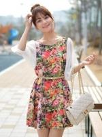 ชุดเดรสแฟชั่นเกาหลี ชุดเดรสสั้น คอกลม แขนยาวผ้าชีฟองสีขาว แถมเข็มขัด ลายดอกไม้ ชุดเดรสทรงกระบอก ชุดเดรสเกาหลี(ใหม่ พร้อมส่ง) ร้าน Ladyshop4u