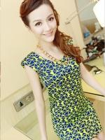 ชุดเดรสสั้น ชุดเดรสเกาหลี เข้ารูป สีเขียว คอกลม แขนกุด ชุดเดรสน่ารัก (ใหม่ พร้อมส่ง) ร้าน Ladyshop4u
