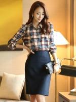(สีครีมลายสก๊อต ไซส์ XL) เสื้อเชิ้ตทำงานแฟชั่น สีครีม ลายสก๊อต คอปก แขนยาว ผ้าชีฟองเนื้อทราย (ใหม่ พร้อมส่ง) ร้าน LadyShop4U