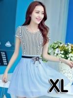 (สีฟ้า ไซส์ XL) ชุดเดรสแซกสั้นแฟชั่นเกาหลี เสื้อผ้าคอตตอนสีขาวสลับดำ คอกลม แขนสั้นแต่งขอบด้วยลูกไม้ เย็บติดกระโปรงผ้าแก้ว สีฟ้า ซิปข้าง (ใหม่ พร้อมส่ง) ร้าน Ladyshop4u