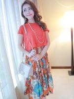 (สีแดง)ชุดเดรสยาวแฟชั่นเกาหลีน่ารัก ลายดอกไม้ สีแดง เสื้อคอกลม แขนสั้น ผ้าชีฟอง แระโปรงลายดอกอัดพลีท (ใหม่ พร้อมส่ง) ร้าน Ladyshop4u